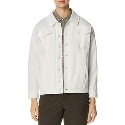 Kenneth Cole New York Womens White Fall Denim Jacket Outerwe