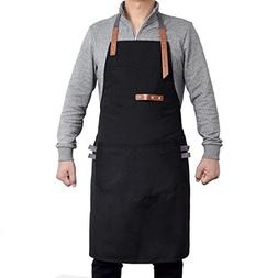 Xiangheng Bib Apron with Pockets Adjustable Straps Home Kitc